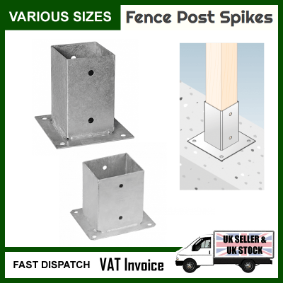 150mm Fence Post Bolt Down Anchor Support – Galvanised